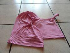 Knotenmützen+Beaniemützen  aus Jersey pink-weiß gestreift