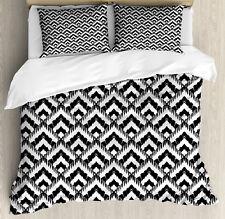Black and White Duvet Cover Set with Pillow Shams Chevron Lines Print