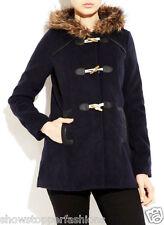 NUEVA, Para Dama Invierno Bolso capucha de piel abrigo gabardina azul marino
