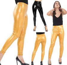 Womens Vinyl PVC Wet Look Legging Ladies Elasticated High Waist Shinny Pants
