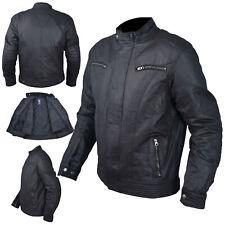 Textile Blouson Protections CE Coton Ciré Moto Sport Scooter Noir