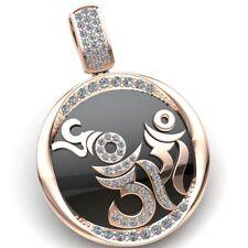 0.5carat Round Cut Diamond Ladies Circle of Om Religious Pendant 10K Gold