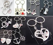 2pcs Fashion Love Heart Key Ring Keyfob Couples Romantic Keychain Lover Gift LA