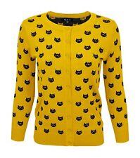 4e22cc60342 Women Cute Cat Patterned 3 4 Sleeve Button Down Stylish Cardigan Sweater  MK3466