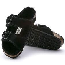Birkenstock Arizona sandales cuir peau lainee Normal Noir Pantoufles Mules