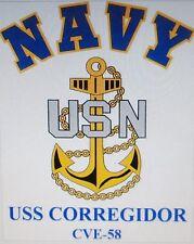 USS CORREGIDOR CVE-58* AIRCRAFT CARRIER U.S NAVY W/ ANCHOR* SHIRT