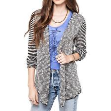 O'Neill ZANE Black White Striped Open Front Knit Cardigan Junior's Sweater