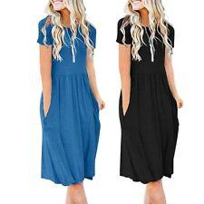 Women's Boho Short Sleeve Pockets Empire Waist Pleated Loose Swing Flare Dresses