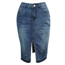 Women Ladies High Waist Water Wash Ripple Pencil Slim Denim Skinny Jean Skirt GW