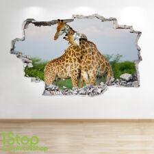 GIRAFFE WALL STICKER 3D LOOK - BEDROOM LOUNGE NATURE ANIMAL WALL DECAL Z580
