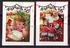 "AUSTRALIA 2010 CHRISTMAS ""SHINY"" SELF ADHESIVE SET OF 2 DIFFERENT FINE USED"
