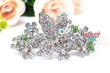 New rhinestones crystal butterfly flower metal hair barrette clip bridal clamp
