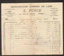 """PARIS (X°) ARMES de LUXE & ACCESSOIRES de CHASSE """"E. PUECH"""" en 1922"""