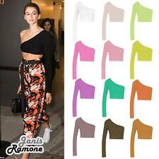 Womens One Shoulder Long Sleeve Plain Clubwear Summer Vest Party Tank Crop Top