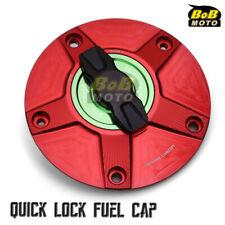 RED FCR 1/4 Quick Lock Gas Fuel Cap For Suzuki GSR 750 10 11 12 13