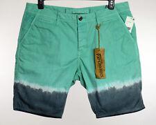 Paperbacks Mens Aqua Green Gray Dip Dye Casual Shorts 32 36 38