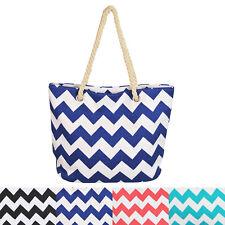 Premium Large Chevron Zig Zag Canvas Tote Shoulder Bag Handbag - Diff Colors