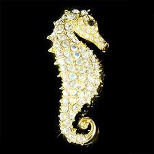 Big w Swarovski Crystal Gold Pl ~SEAHORSE Beach Wedding Sea Horse Pin Brooch New