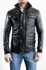 DE Herren Lederjacke Biker Men's Leather Jacket Coat Homme Veste En cuir E2