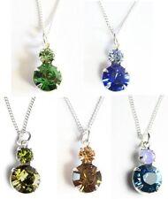 Farbe wählen! Silber Hals-Kette mit 2 Swarovski® Kristallen in Schmuck Box