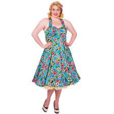 Dancing Days Vintage Retro 50er-Jahre Swing Neckholder Kleid Blue Floral Blumen