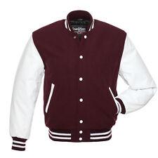 Stewart & Strauss Maroon Wool & White Leather Varsity Letterman School Jacket