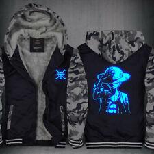 ONE PIECE Luffy Luminous Hoodie Fleece Coat Winter Warm Jacket Zip Up Sweatshirt