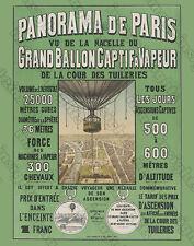 PANORAMA DE PARIS Ballooning Vintage Lithograph Restoration Photoprint Poster