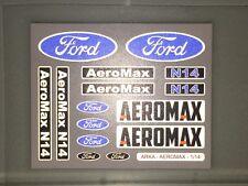 TAMIYA 1/14 FORD AEROMAX 56309 - CHROME / REFLECTIVE stickers logos mudflaps set