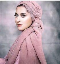Women Hijab Scarf Long Wrinkle Plain Hijabs Muslim Shawl Head Wraps  180*85cm