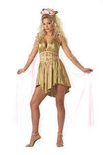 Goddess Dress 3 Pc Gold Aphrodite Sexy Mini Halter Dress Sheer Cape & Headpiece