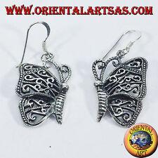 Pendientes plata mariposa colgantes