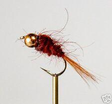 12 Tungsten Bead Brown S/F Fishing Flies #12,14,16