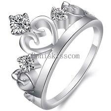 Charm Silver Tone Ladies Crown Ring Three Rhinestones Birthday Anniversary Gifts