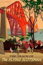 FLYING SCOTSMAN Forth Bridge English Railroad Train Travel Poster-in 3 sizes-057