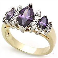 Bague plaquée or,zircons couleur améthyste et diamant,bijou femme neuf T49 à T60