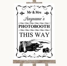 Negro y blanco de esta manera derecho Personalizado De Boda Photobooth signo
