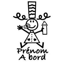 Sticker Bigoudène Breizh Prénom au choix personnalisé à bord (BEB006)