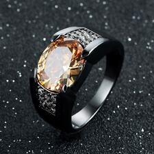 Mens Size 7-13 Champagne Topaz 18K Black Gold Filled Engagement Ring Gift