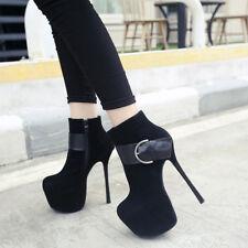 botas bajo tacón de aguja 15.5 cm negro elegantes como piel 9503