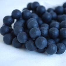 Grade A Noir Agate Mat Givré à facettes perles rondes - 4 mm 6 mm 8 mm 10 mm
