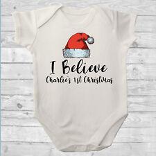 1st Christmas Baby grow,Bodysuit,Baby onsie. I Believe Santa Hat Personalised