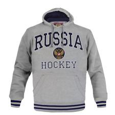 Russia Hockey Hoodie Sweatshirt with pocket,coat of arms imperial eagle, grey