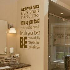 Wash Hands Bath Quote Wall Sticker Decal Art Transfer Graphic Stencils Vinyl bq9