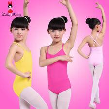 UK Seller Girls Cotton Spandex Ballet Dance Leotard Yoga Leotard 90-150cm 109
