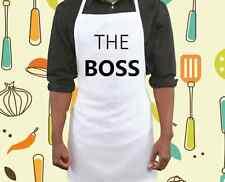 Le patron TABLIER BLANC Barbecue Cuisson Chef de Cuisine Cadeau