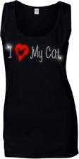 I Love My Cat Ladies Crystal Vest - Rhinestone Diamante  all sizes 6 -18