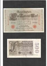 Billetes histórica de 1910 - 1923, rico billetes, usado, a la selección