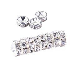 Diamante Beads Silver Shamballa Rhinestone Rondelle Spacer Bracelet Necklace