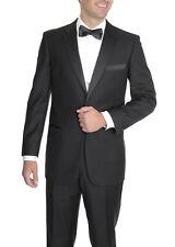 Pierre Noir By Renoir Slim Fit Solid Black Tuxedo Suit With Satin Stripe On Pant